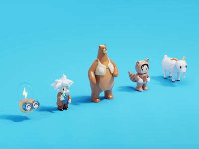 Account Spark and Salesforce Characters characters accountspark salesforce design illustration b3d 3d isometric blender