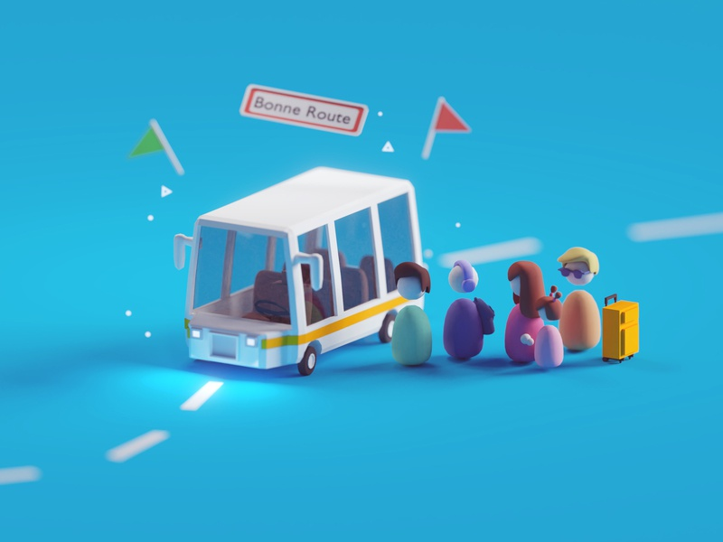 Bus render for Tano Interactive station tano bus illustration render low poly isometric blender