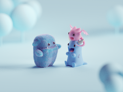 Monster Friends monsters plushies cute character illustration b3d low poly isometric blender