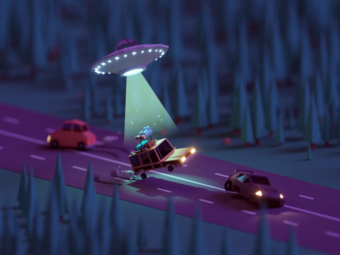 Road Trip Gone Wrong station wagon abduction aliens road trip game illustration b3d low poly isometric blender