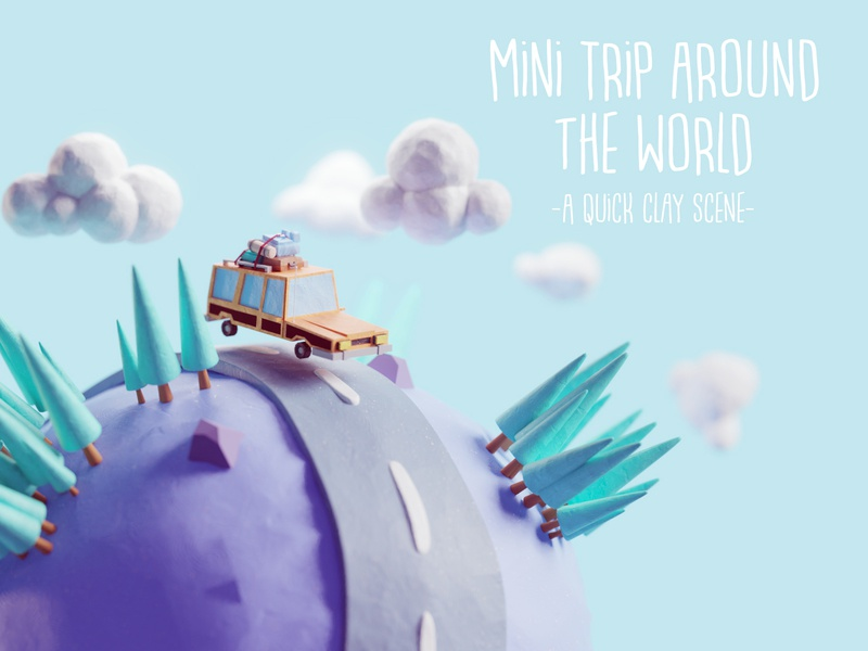 Mini Trip Around the World clay clay doh vehicle car station wagon mini world illustration b3d low poly isometric blender