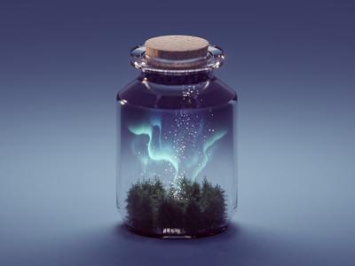 Northern Lights in a Jar trees forest aurora borealis northern lights jar illustration render b3d isometric blender