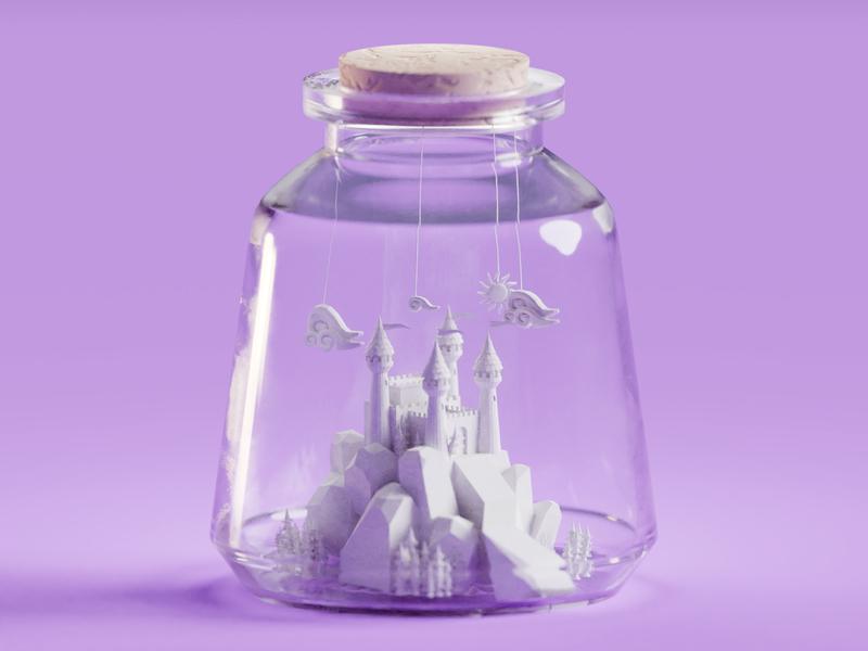Castle in a jar tree jar bottle castle illustration b3d low poly isometric blender