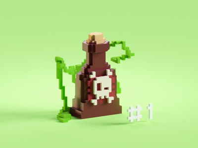 Voxeltober Day #1 poison magicavoxel voxel b3d low poly isometric blender