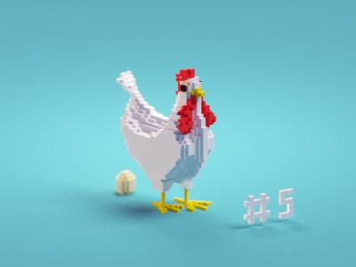 Voxeltober Day #5 voxeltober egg chicken magicavoxel b3d isometric blender