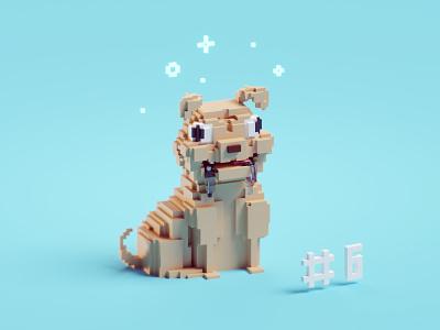 Voxeltober Day #6 magikavoxel voxels voxeltober drool pug illustration b3d isometric blender