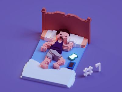 Voxeltober Day #7 voxels magicavoxel backpains chibi sleep illustration render b3d isometric blender