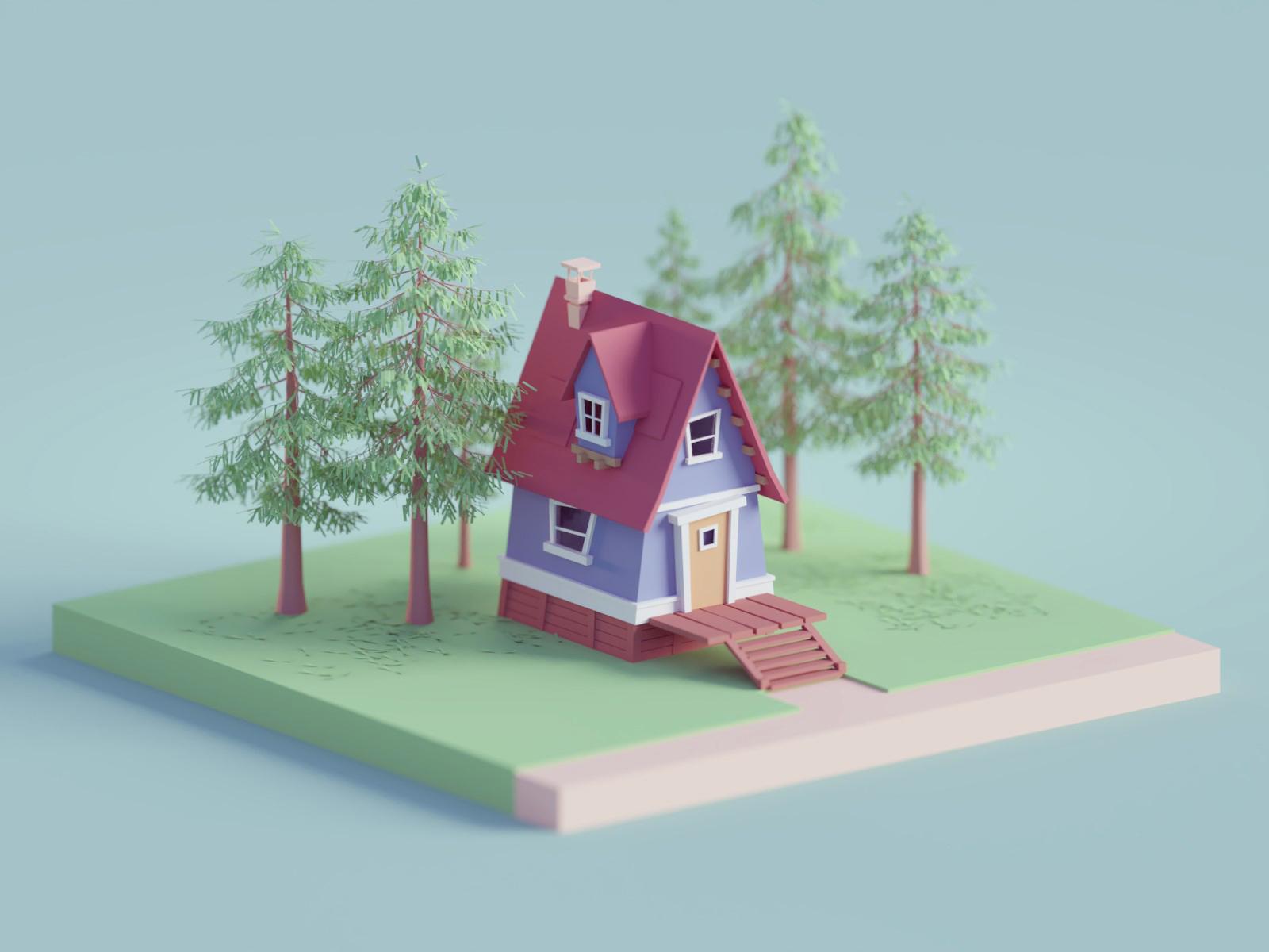 Random renders colors subtle house trees low poly b3d isometric blender
