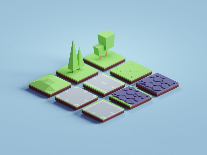 Random 3D tiles blocks roads game assets tiles illustration b3d low poly isometric blender