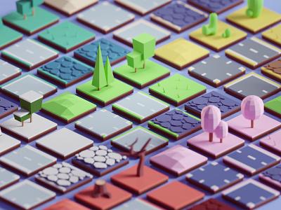 Random 3D Tiles render random game assets tiles illustration b3d low poly blender