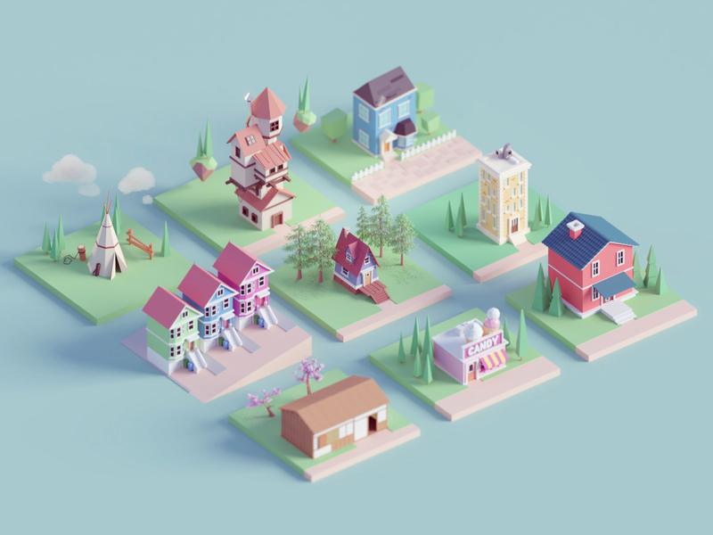 House Tiles building game blocks tiles house b3d illustration low poly isometric blender