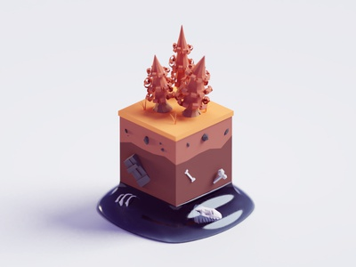 Hidden Layers forest trees bones surface ground layers lowpoly isometric b3d blender