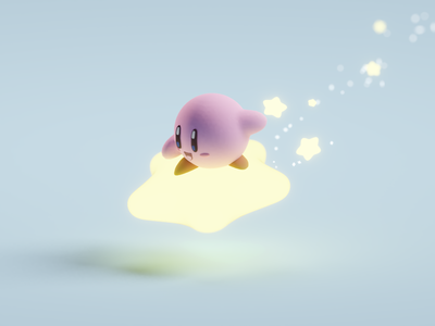 Quick Kirby Render stars nintendo super smash bros cute kirby b3d low poly isometric blender