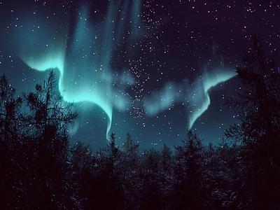 Northern Lights <3 night stars lights aurora borealis northern lights 3d modeling b3d blender