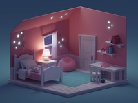 Quick Room Render (Night Version)