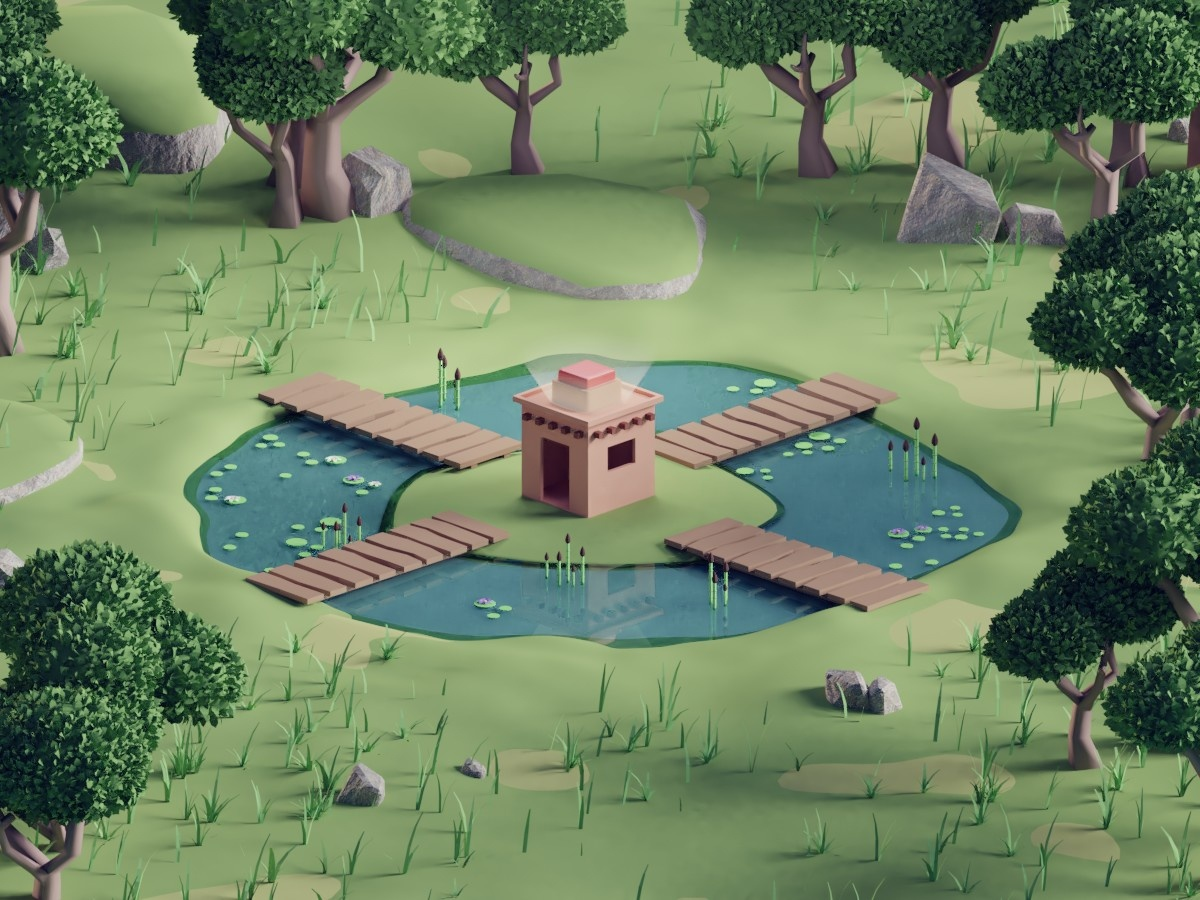 Swamp Render (Cancelled Project) hut swamp animation illustration 3d b3d low poly isometric blender