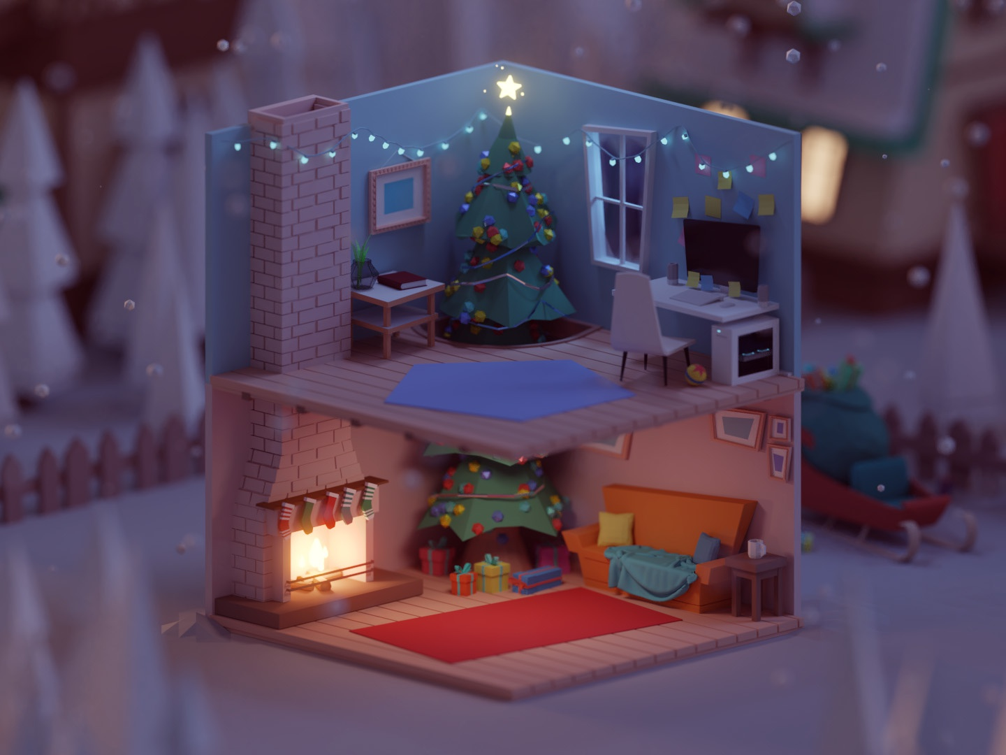 Christmas Competition 2018 (WIP) snow christ house gifts santa rooms xmas christmas lowpoly illustration b3d low poly isometric blender