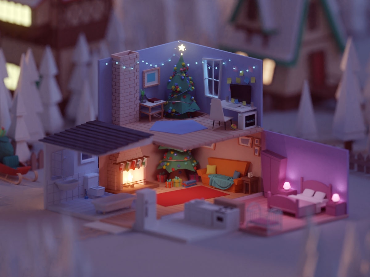 Christmas Competition 2018 (WIP) winter snow home xmas christmas design lowpoly b3d low poly isometric blender