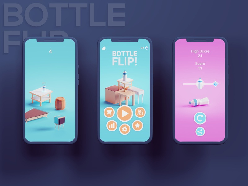 Bottle Flip Redesign ui bottle flip mobile game game design b3d game illustration low poly isometric blender