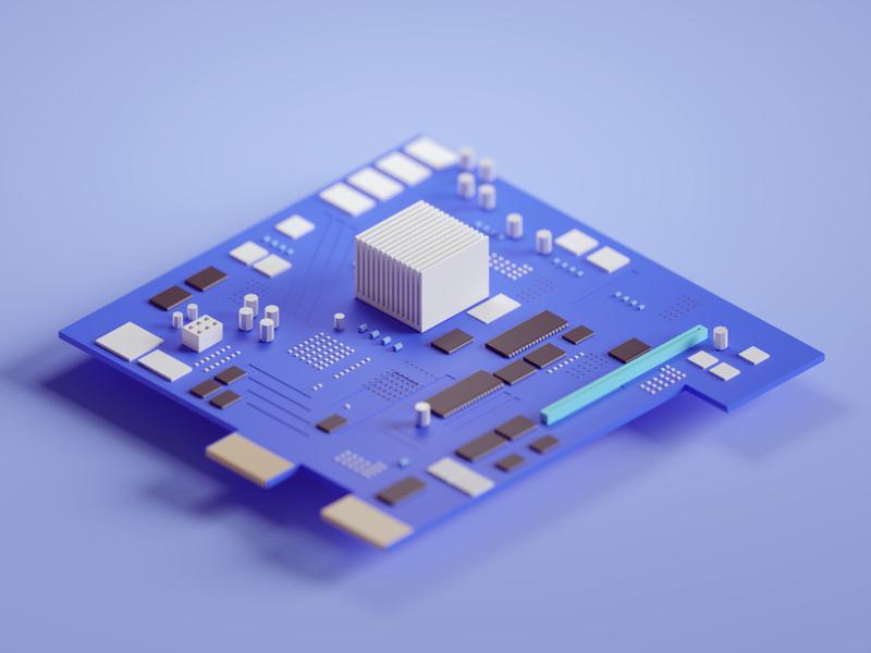 Random render chipboard computer board chip design illustration b3d low poly isometric blender