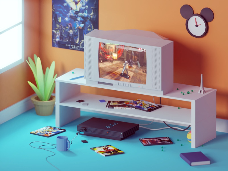 The one with all the 8 MB memory cards sony console gaming playstation ps2 lowpoly illustration b3d low poly isometric blender