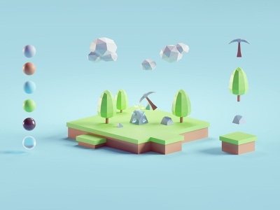 Simple RPG render minecraft clone mining game lowpoly illustration b3d 3d low poly isometric blender