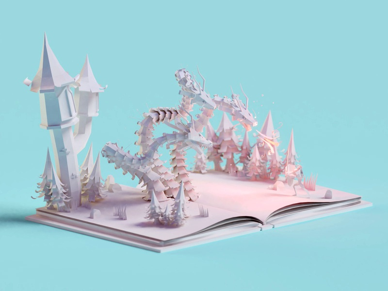 Paper story paper 53 knight dragon paper lowpoly illustration b3d low poly isometric blender