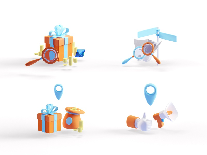 Finders Keepers Icons ar icons b3d 3d low poly isometric blender