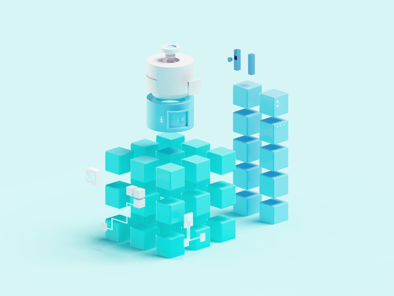 Illustrations for Eighty Eight Ventures tech lowpoly render illustration b3d low poly isometric blender