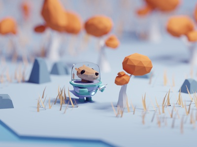 An Otter Planet Illustrations isometria space planet game otter lowpoly illustration b3d low poly isometric blender