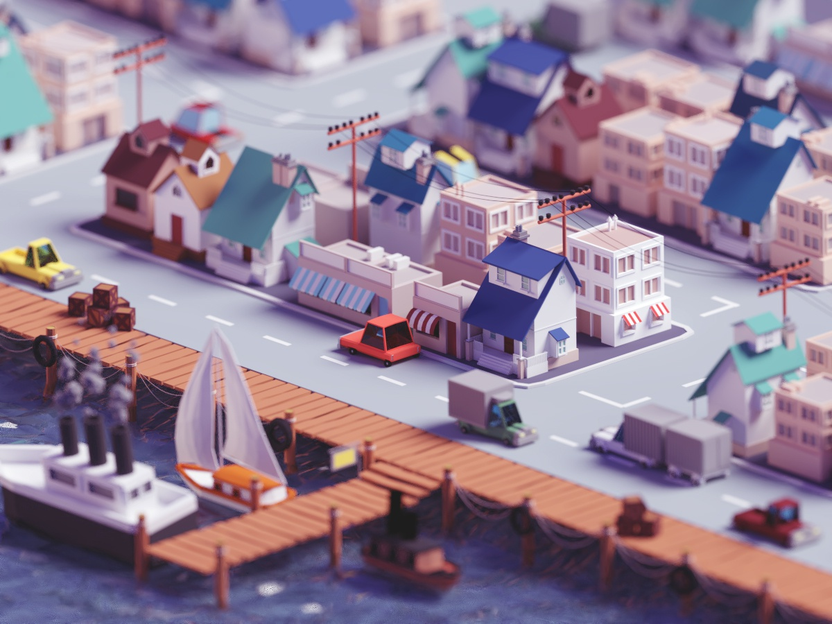 Low poly fishing village (2019 version) seaside sea fishing village city isometric b3d blender