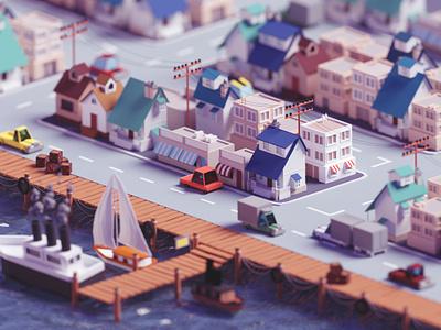 Low poly fishing village (2019 version) seaside sea fishing village city isometric b3d blender