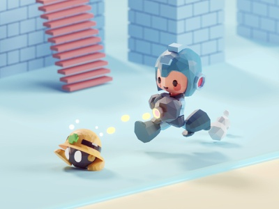 Megaman scene 2 blender 3d cute virus met capcom megaman isometric low poly b3d blender
