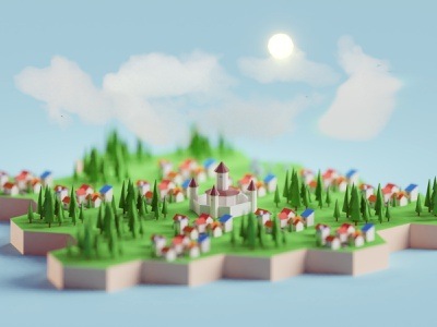 Low poly Board Game-ish City fantasy village city board game low poly isometric b3d blender
