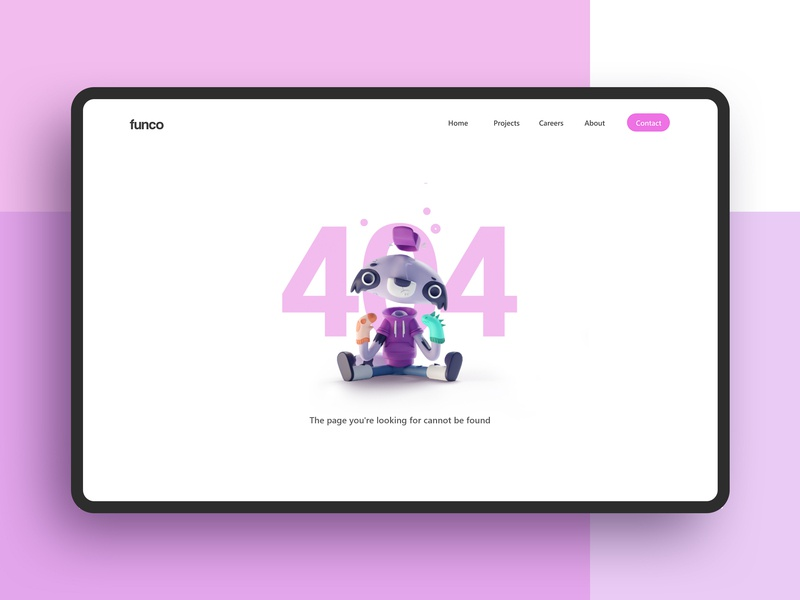 Daily UI 09- 404 page 3d racoon design 404 daily ui ui b3d blender