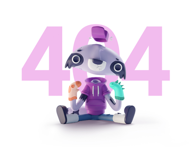 Daily UI #09 Illustration character racoon 404 orthographic b3d blender