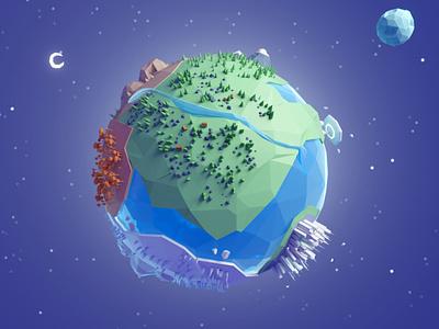 Planet Concept concept elements space planet lowpoly illustration b3d blender