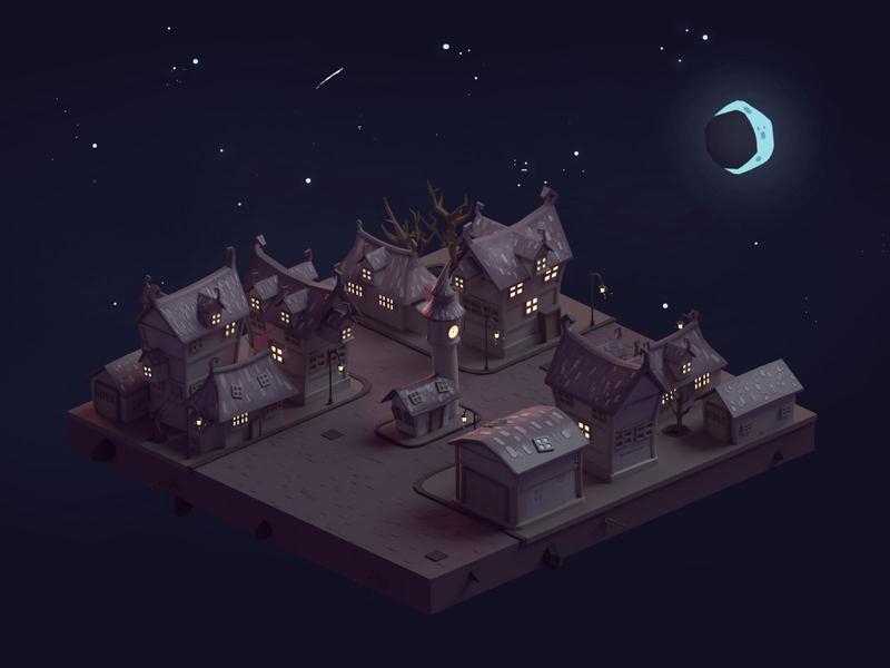 The Old Dark Town (2019) halloween dark town illustration b3d low poly isometric blender