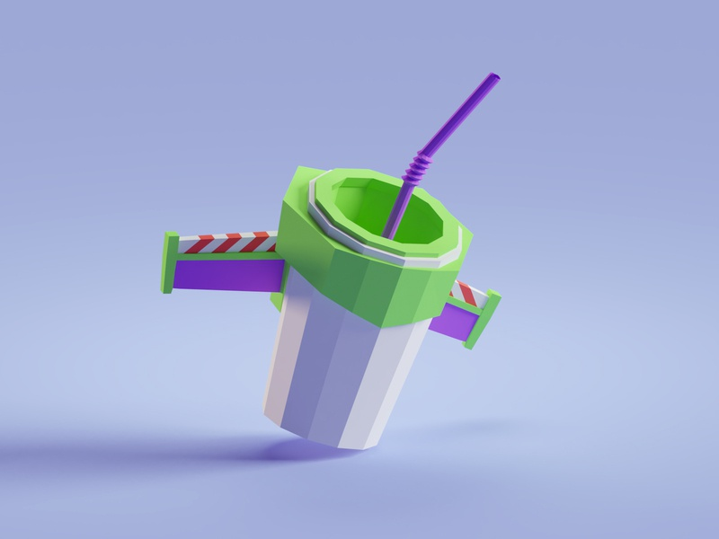 Buzz Lightyear Cup buzz lightyear toy story illustration b3d low poly isometric blender