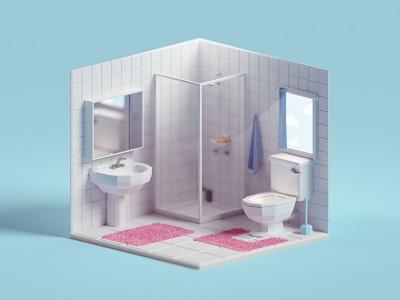 Quick Tiny Toilet Room toilet illustration b3d low poly isometric blender