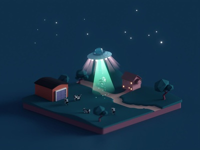 Abduction (2019) illustration wip aliens lowpoly isometric b3d blender