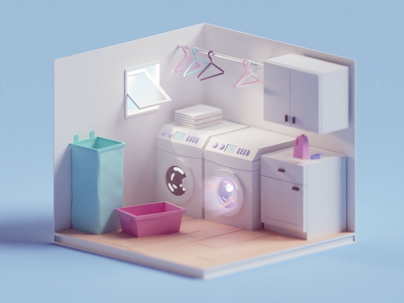 Laundry Room washing machine laundry room illustration b3d low poly isometric blender