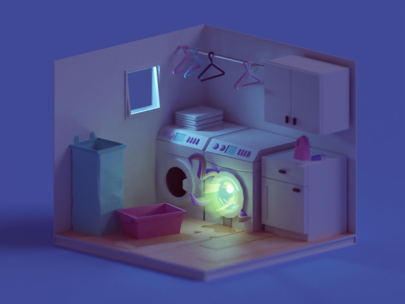 Laundry Room (Night Version) room washing machine laundry low poly isometric b3d blender