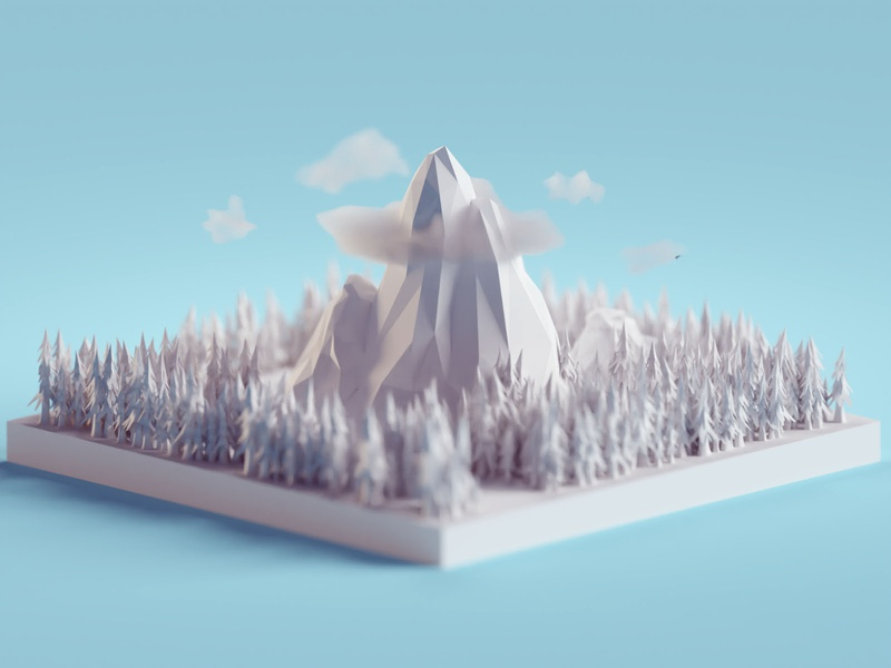 Lowpoly Mountains low poly forest clouds mountains isometric b3d blender
