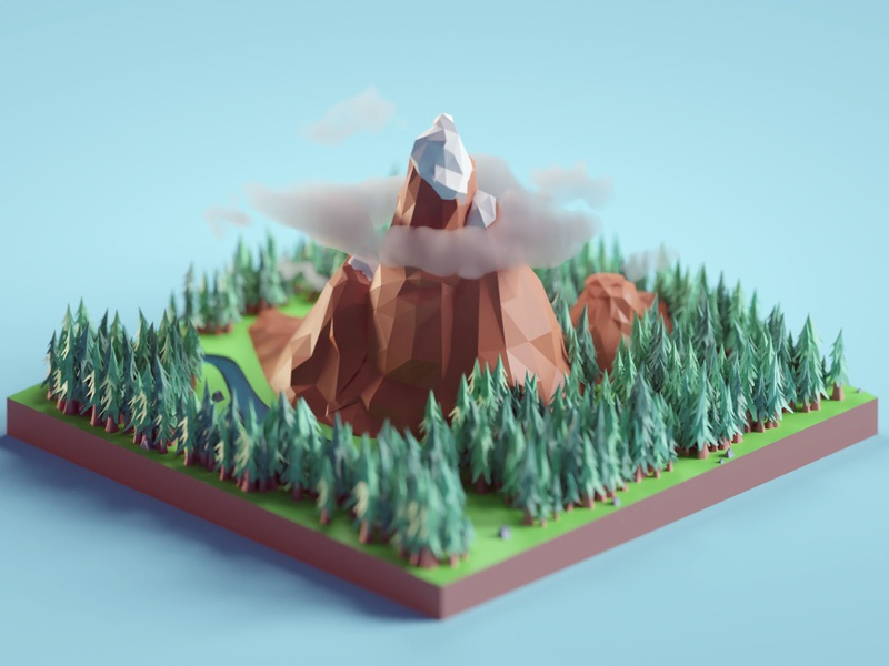 Lowpoly Mountains illustration nature low poly landscape mountains isometric b3d blender