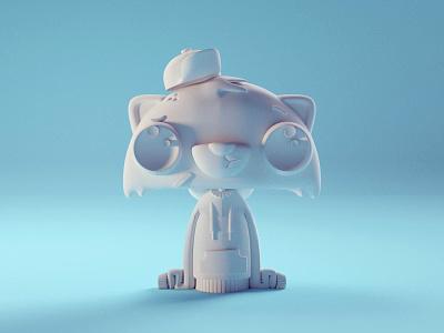 New Racoon Model (WIP) cute chibi racoon character isometric b3d blender