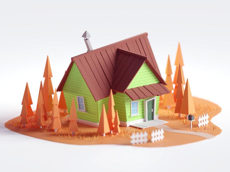 Random House #5 green orange autumn house render low poly isometric b3d blender