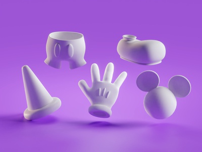 Mickey Items fantasia items disney mickey mouse mickey illustration b3d low poly isometric blender