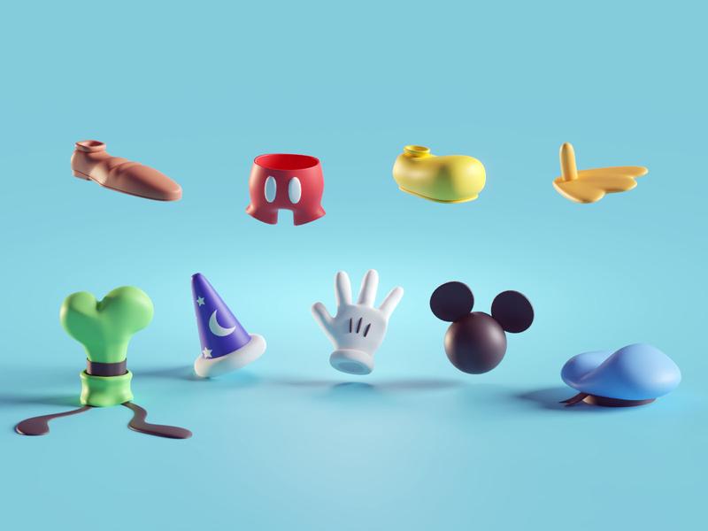 Disney Items random items donald mickey goofy disney render b3d isometric blender
