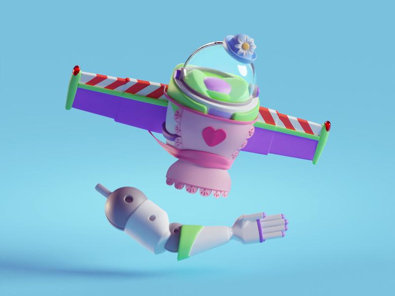 Tea with Mrs. Nesbitt tea nesbitt arm illustration disney pixar buzz lightyear toy story toy story 4 b3d blender